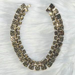 Gold Metal Leopard Print Necklace